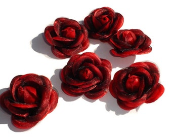 Red Satin Roses 6pc, Multi Purpose, Hair,clothes,home decor