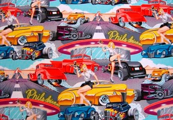 Phil's Drive-In pin-up fabric - Alexander Henry Scenic 1 Yard Fabric