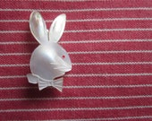 white bunny with red eye vintage brooch