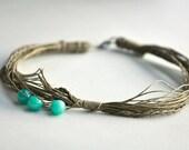 Ocean Blue Jade Braid Linen Necklace Spring 2012