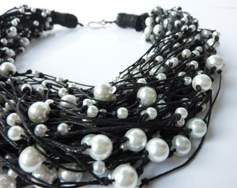 One of a Kind Black Linen Necklace