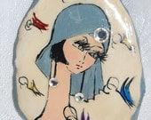 Black Haired Flapper Woman with Butterflies Brooch Handmade Small Glamorous Work of Original Art