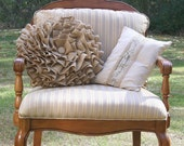 Ruffled Burlap Round Pillow