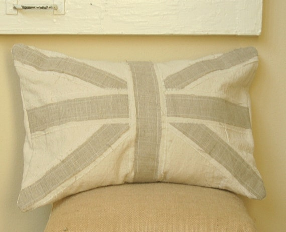 Union Jack Linen and Canvas Pillow Cover - Lumbar