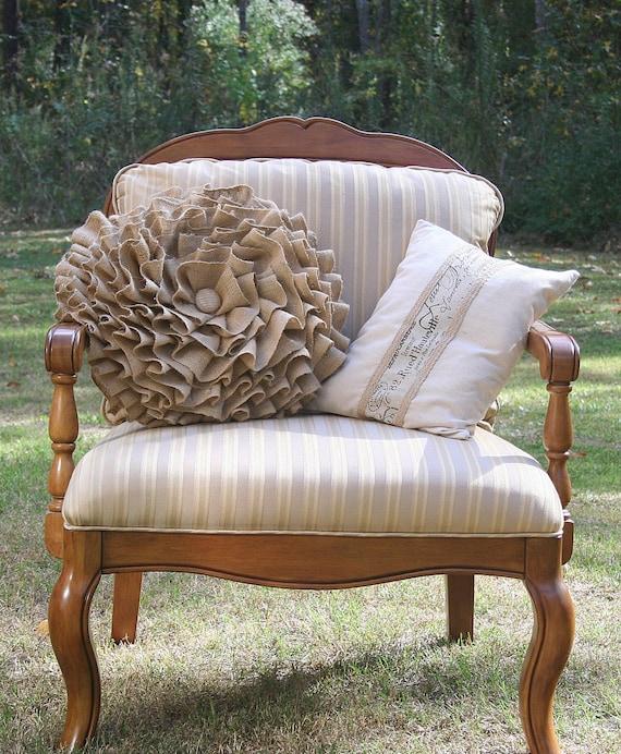 Ruffled Burlap Round Pillow