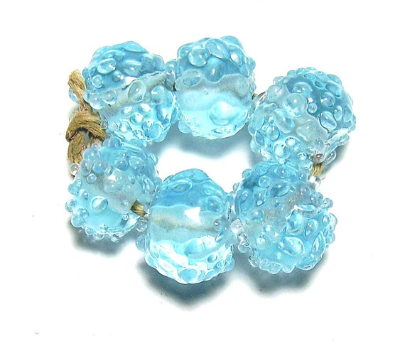 Glacier Crystal Lampwork Beads Ice Blue