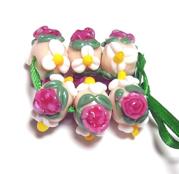 Peach Floral Lampwork Set - Roses and Daisies