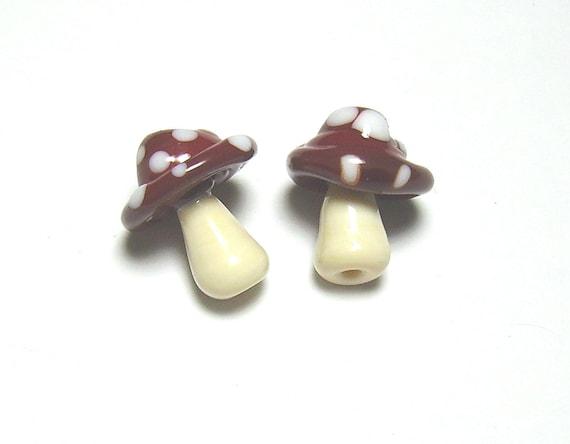 Red Mushrooms Lampwork Pair