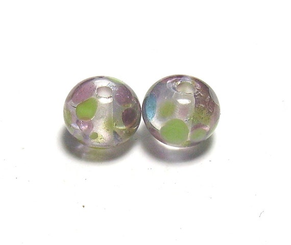 Lilac and Green Lampwork Pair - Transparent Abstract Waterlilies