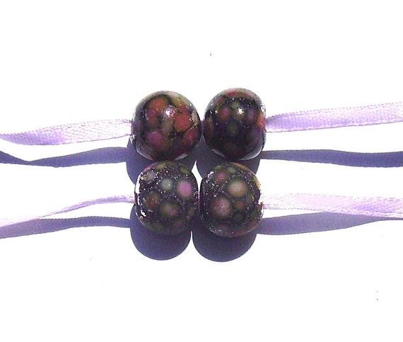Purple Lampwork Pair - Cherries and Silver