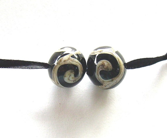 Black and Ivory Lampwork Pair