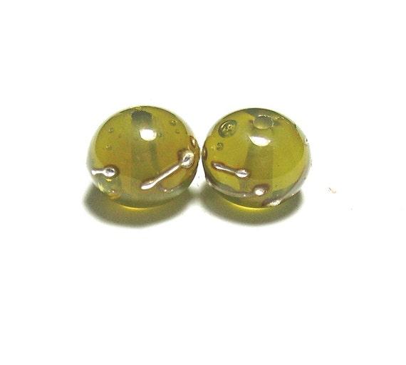Olive Green Lampwork Pair