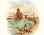 vintage scenic print - HARBOR SCENE - sea artwork from the 1890s