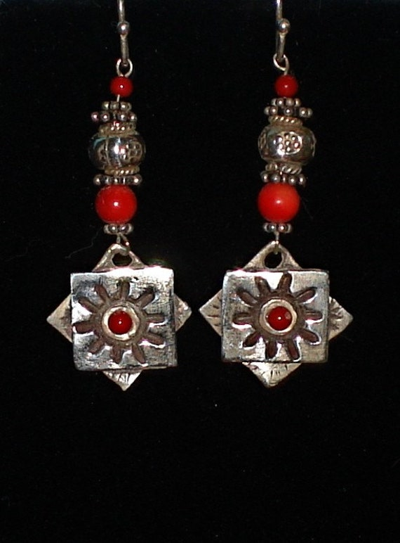 Precious Metal Clay Silver and Coral Earrings