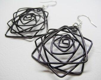 Large Black Rose Wirework Earrings