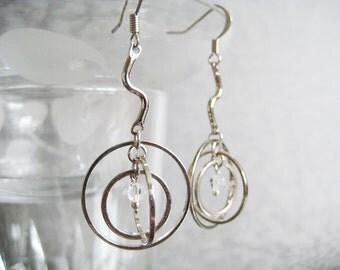 3 Hoop Sphere with Crystal Core Earrings