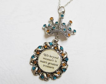 Lost Diadem and House Motto Necklace