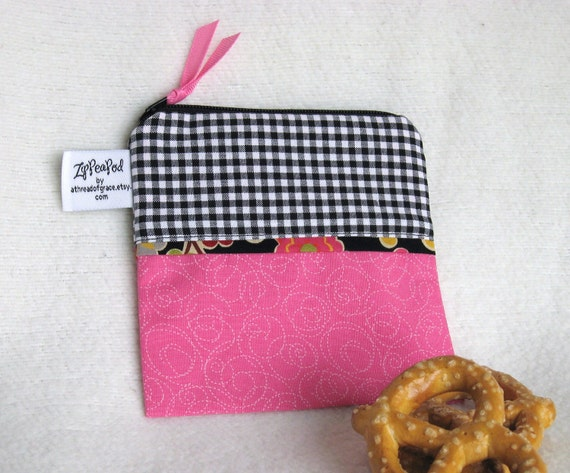 "Mini Size Reusable Snack Sack, Pacifier Pouch  - 5"" x 5""- Zippered, Nylon lined, Reusable, Machine Washable"