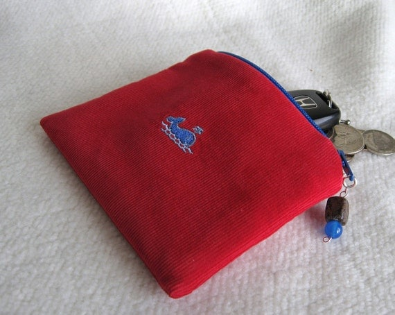 Embroidered Coin Purse, Gadget Case - Corduroy, Zippered, Padded, Lined