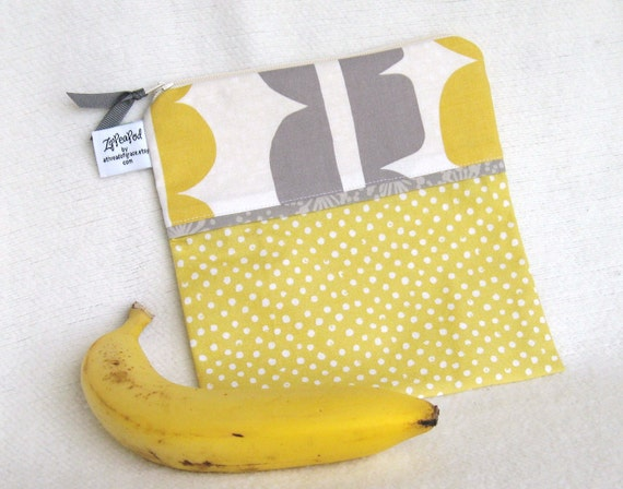 "Eco Friendly Sandwich Sack - 7.5"" x 7.5""- Reusable, Nylon lined, Zippered, Machine Washable"