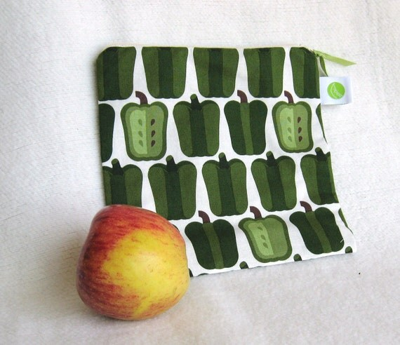 "Green Pepper Lunch Sack, Snack/Sandwich Sack, Project Bag - 7.5"" x 7.5""- Nylon lined, Zippered, Reusable, Machine Washable"