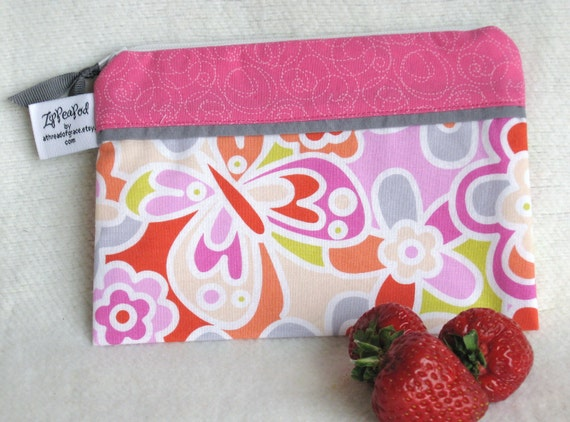 """Summertime Snack Sack, Treat Bag, Crayon Pouch, Half Size - 7.5"""" x 5""""- Nylon lined, Reusable, Zippered,  Machine Washable, Reusable"""