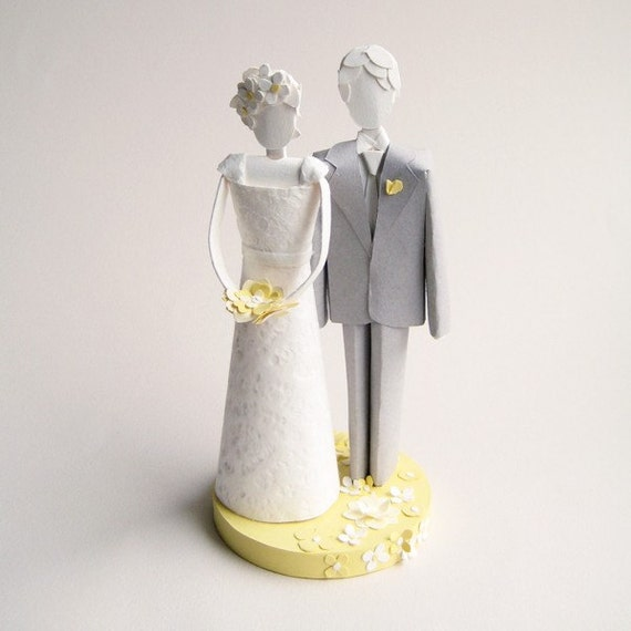 Wedding Cake Topper - Paper Sculpture - Gray, Yellow and White