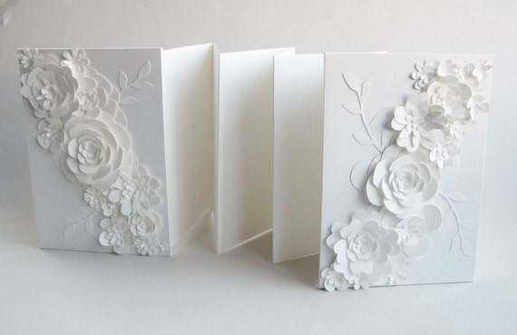 Guest Book - Accordion Style - Made-to-Order - White flowers