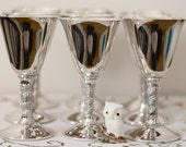silver plated goblets set of 9 vintage made in Spain by Valero