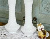 vintage milk glass vases set of 2