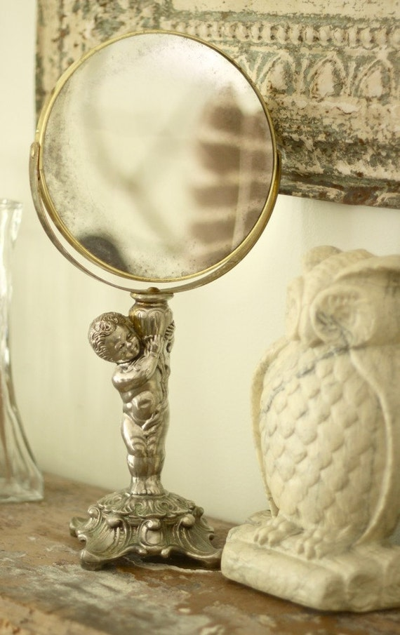 lovely vintage ornate metal swivel vanity tabletop mirror