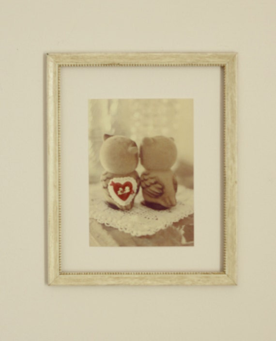 Valentine owl photography gift for him owl art heart love cute owl Valentine gift for her be mine 5x7 photograph red cream beige brown