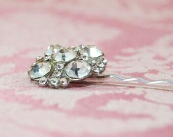 Ornate Vintage Rhinestone Bobby Pin for Wedding or Casual Wear