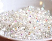 50 pieces of silver lined - crystal AB 4 mm fire polished czech crystal beads (CZ04-38)