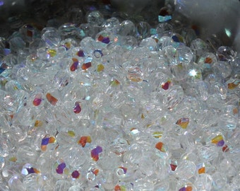 50 pieces of crystal AB 4 mm fire polished czech crystal beads (CZ04-06)