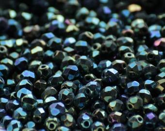 50 pieces of iris green 4 mm fire polished czech crystal beads (CZ04-22)
