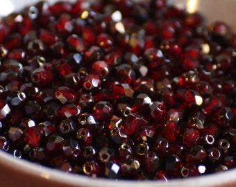 50 pieces of purple iris - siam ruby 4 mm fire polished czech crystal beads (CZ04-110)