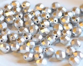 10 pieces of matte metallic aluminium 8 mm fire polished czech crystal beads (CZ08-13)
