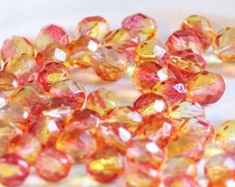 10 pieces of dual coated - fuchsia lemon 8 mm fire polished czech crystal beads (CZ08-17)