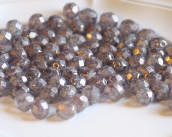 10 pieces of luster - stone amethyst 8 mm fire polished czech crystal beads (CZ08-47)