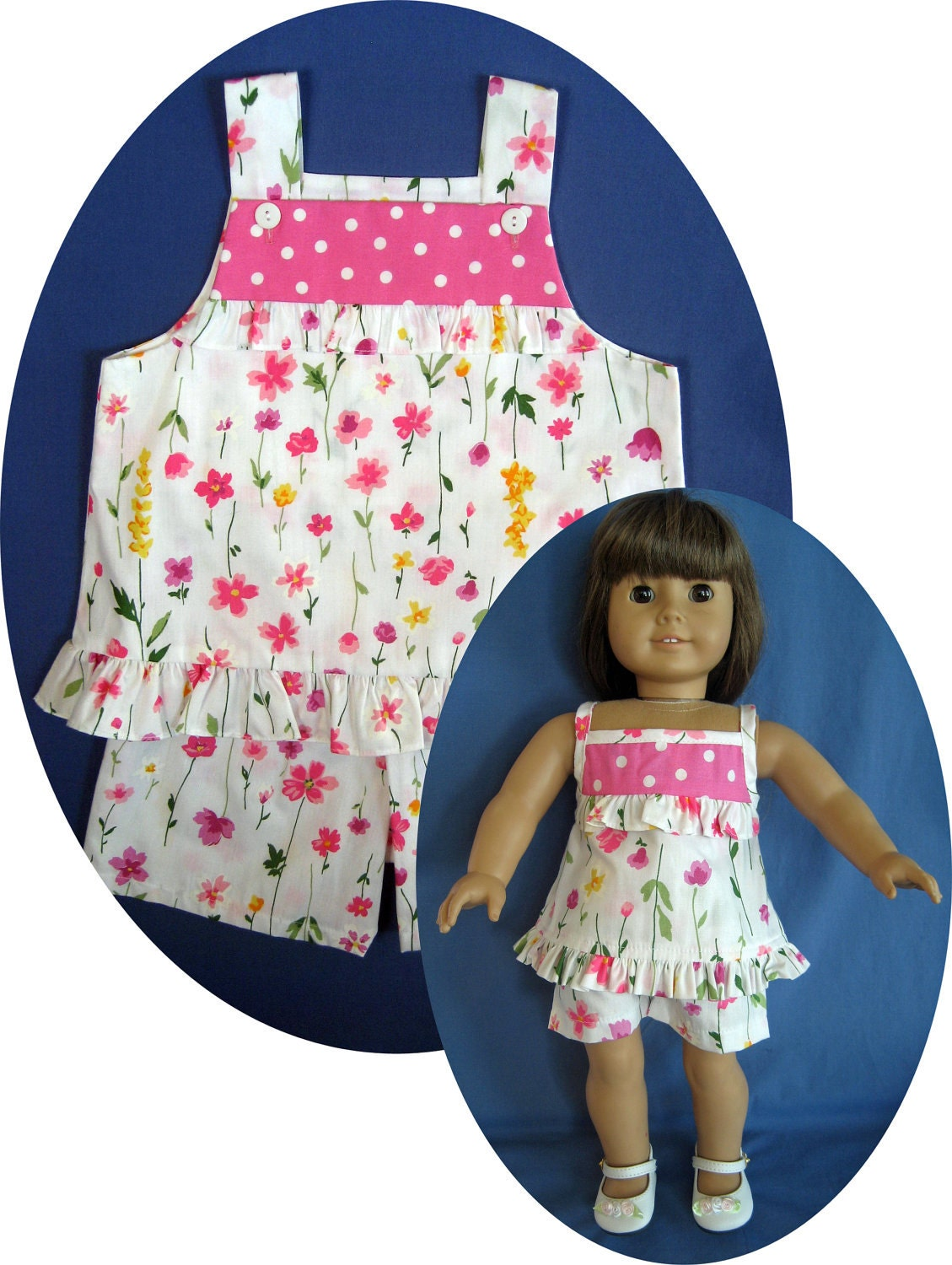 After young girls dress themselves in these fun outfits, they can do the same with a matching look made just for their doll. Clothed in the same cute outfits—which feature details from glitter patterns to ribbons and bows—they'll feel stylishly coordinated during playdates or photo sessions.