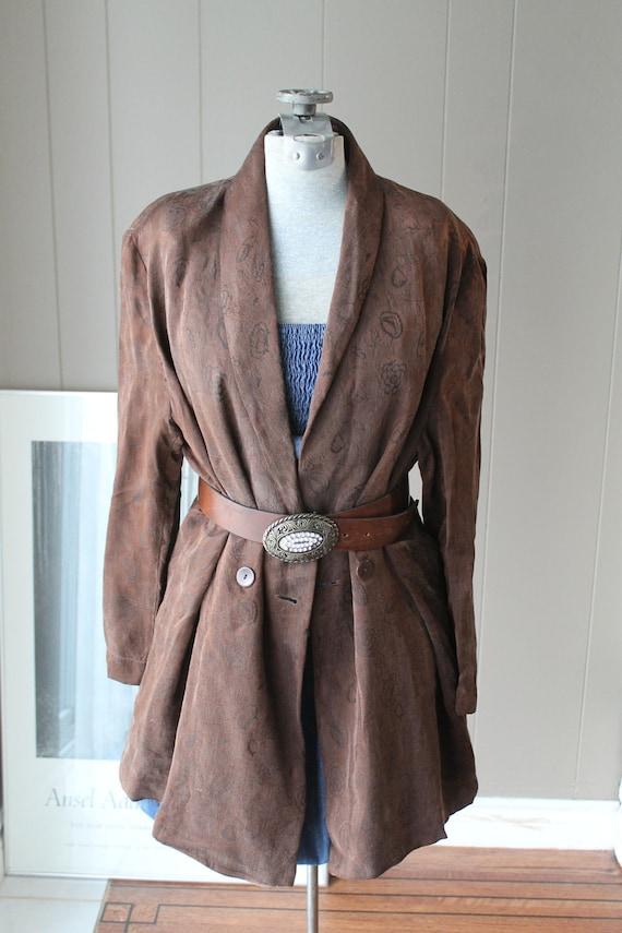 ON RESERVE Please Do Not Purchase Plus Size 80s Satin Jacket Rayon jacket oversized silken brown woven jacket XL Germany