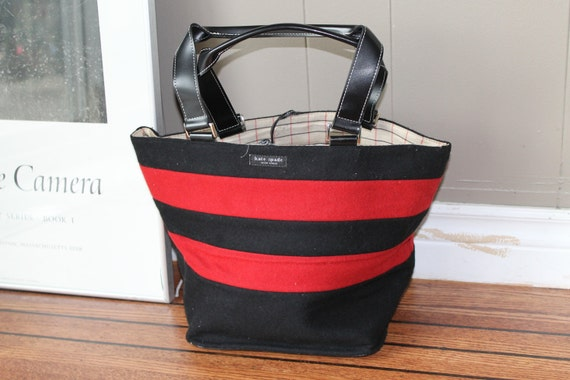 WINTER SALE Kate Spade Red and Black Fabric Tote Bag