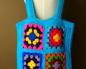 FREE SHIPPING - granny square tote in turquoise