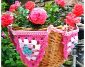 bicycle basket bunting in spring pink white and aqua