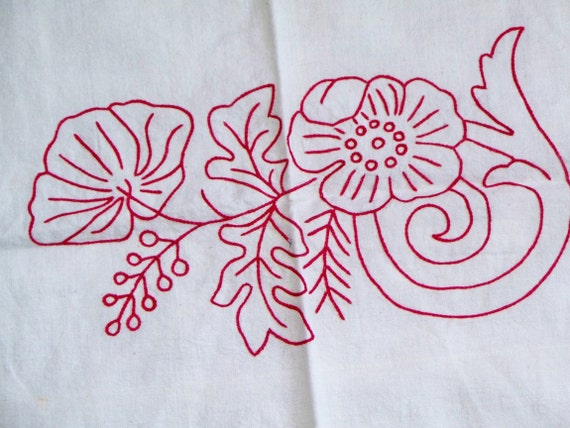Beautiful Old Red Work Dresser Scarf or Christmas Table Runner Country Cottage Chic