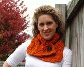 ON SALE Scarf Cowl Warmer Pumpkin Orange