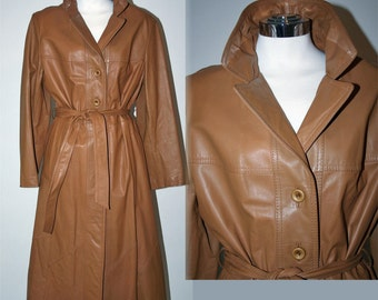 Long Butterscotch Leather Spy Trench Coat Vintage 70's