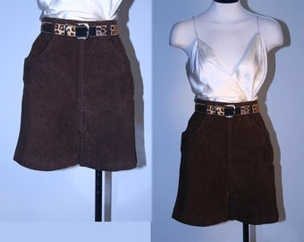 80's High Waisted Vintage Brown Suede Shorts