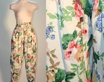 Floral Print 80's Vintage High Waisted Harem Pants
